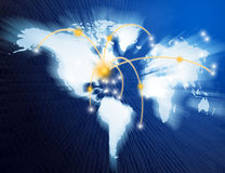 World map. Interconnected by wire (Fiber Optics) of the information Royalty Free Stock Image