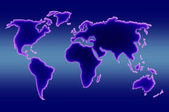 World map. Rectangular world map showing the five continents and oceanic warm zones royalty free stock photos