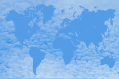 World map. Shaped by clouds Royalty Free Stock Photos