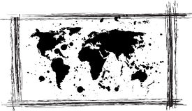 World map. Grunge and dirty world map vector file on white Stock Photos