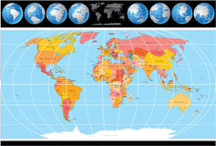 World Map. With Globes, Map include all Countries with Capitals Stock Image