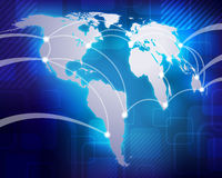 World Map. A detailed illustration of a world map with air routes Royalty Free Stock Photography