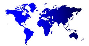 World map. Blue color shaded world map Royalty Free Stock Photography