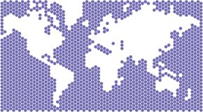 World Map. Hexagons form a map of the world Royalty Free Stock Photo