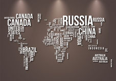 World map. Detailed World Map with all Names of Countries Royalty Free Stock Images