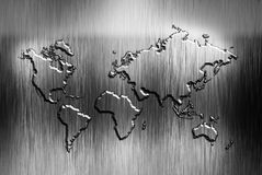World map. With on a metal background stock illustration