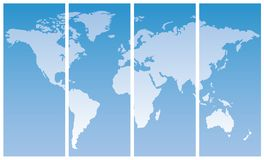 World map. Multi-panel world map on gradient blue background Stock Image