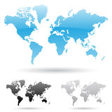 World Map. Eps vector illustration of world map in 3 different colors