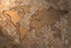 World map. Carving on wood wave plank Stock Photos