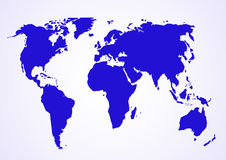 World map. Map of world - blue toned (vector, illustration Royalty Free Stock Photos