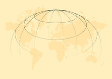 World map. Illustration with grids in soft colour - vector Stock Photo