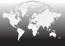 World map. Illustration with grids - black and white Stock Photo