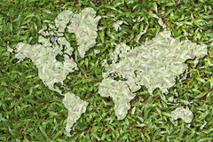 World map. On grass texture Royalty Free Stock Photo