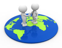World map. 3d people - men, person standing on world map and shaking hand Stock Image