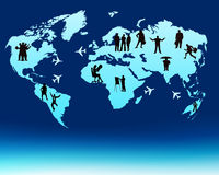World map. Business people on the world map royalty free illustration