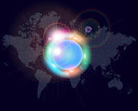 World map. World cities in abstract light Stock Photography