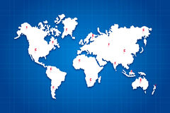 World Map. With flags on all the continents Royalty Free Stock Image
