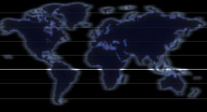 World map. Represented as a glowing silhouettes of continents penetrated by glowing meridians (equator is the most glowing meridian) representing data exchange stock photo