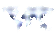 World map. Isolated abstract world-wide map, made from small circles Royalty Free Stock Photography