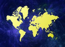 World map. On blue abstract background Stock Photography