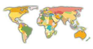 World Map. Color coded map of the world Royalty Free Stock Photos