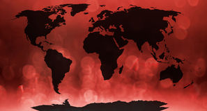 World map. World map, continents in red bokeh background Stock Images