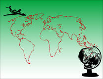 World map. Abstract green background with map shape, globe and plane flying Royalty Free Stock Images