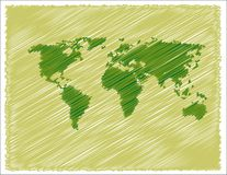 World map. Abstract colored illustration with world map drawing Royalty Free Stock Photo