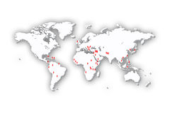 World Map in 3D. BIG with us soldiers Stock Image
