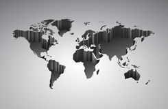 World map with 3d-effect. Vector saved as eps-10, file contains objects with transparency Stock Images