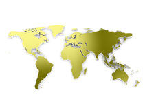 World map 3d embros. Golden 3d world map isolated on white background Royalty Free Stock Image