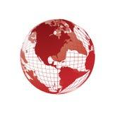World map, 3D globe. World map red, 3D globe, illustration Stock Photos