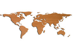 World Map in 3D and wood. World Map in 3D BIG and wood Stock Images