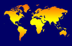 World Map. Background, Orange Gradient Continents On Dark Blue stock illustration