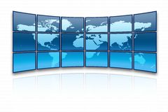 World map. On a huge screen royalty free illustration