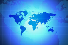 World Map. Global Concept In Blue With Spotlight And Grid vector illustration
