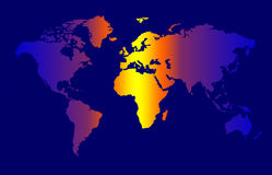 World Map. Colour Time Zone Concept, Dark Background royalty free illustration