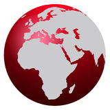 World Map. Red world map isolated on white - Europe, Africa and America stock illustration