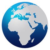 World Map. Blue world map isolated on white - Europe, Africa and Asia royalty free illustration