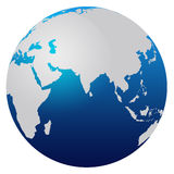 World Map. Blue world map isolated on white - Africa, Asia and Australia royalty free illustration