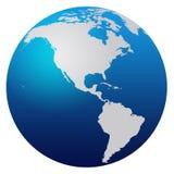 World Map. Blue world map isolated on white - America vector illustration