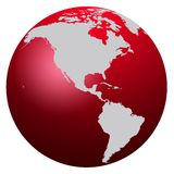 World Map. Red world map isolated on white - America vector illustration