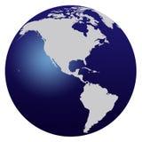 World Map. Blue world map isolated on white - America stock illustration