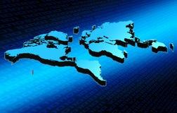 World map. On blue digital background vector illustration