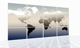 World map. On a huge screen stock illustration