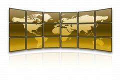 World map. On a huge golden screen stock illustration