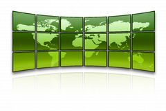 World map. On a huge green screen royalty free illustration