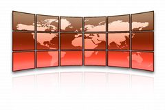 World map. On a huge red screen vector illustration