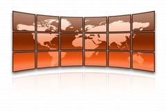 World map. On a huge orange screen royalty free illustration