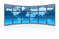 World map. On a huge blue screen royalty free illustration
